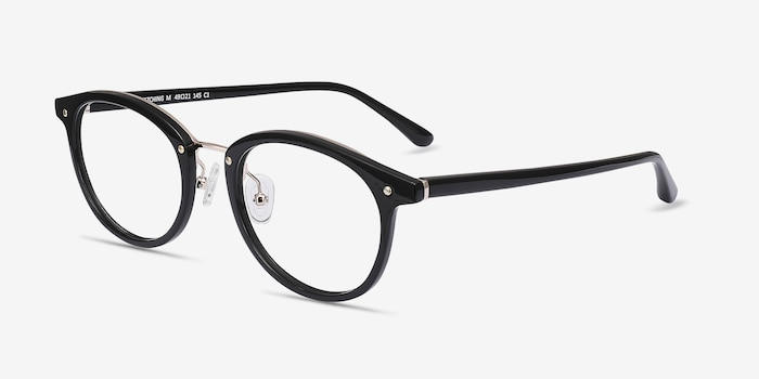 Fetching Black Golden Acetate Eyeglass Frames from EyeBuyDirect, Angle View