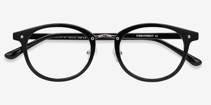 Fetching Black Golden Acetate Eyeglass Frames from EyeBuyDirect, Closed View