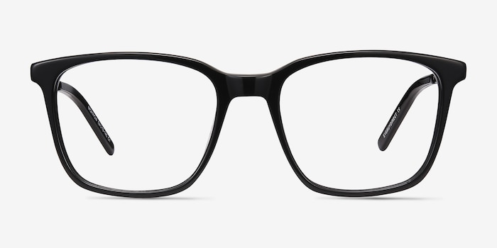 Morrow Black Acetate Eyeglass Frames from EyeBuyDirect, Front View