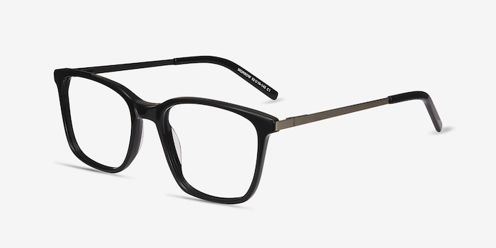 Morrow Black Acetate Eyeglass Frames from EyeBuyDirect, Angle View