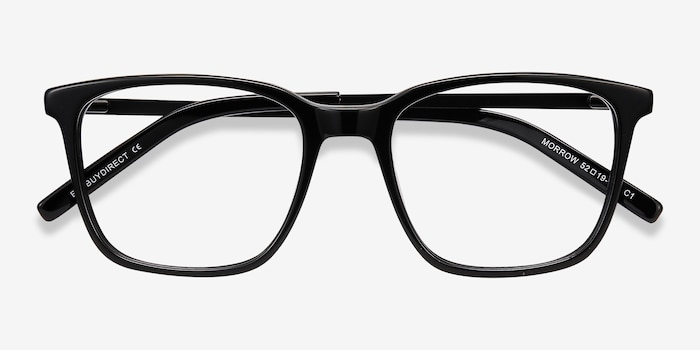 Morrow Black Acetate Eyeglass Frames from EyeBuyDirect, Closed View