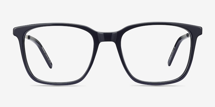 Morrow Navy Metal Eyeglass Frames from EyeBuyDirect, Front View