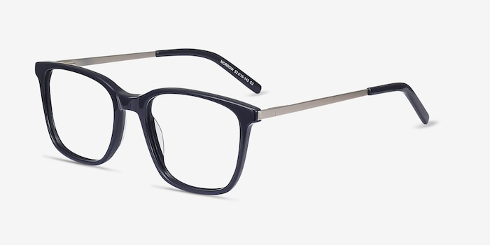 Morrow Navy Metal Eyeglass Frames from EyeBuyDirect, Angle View