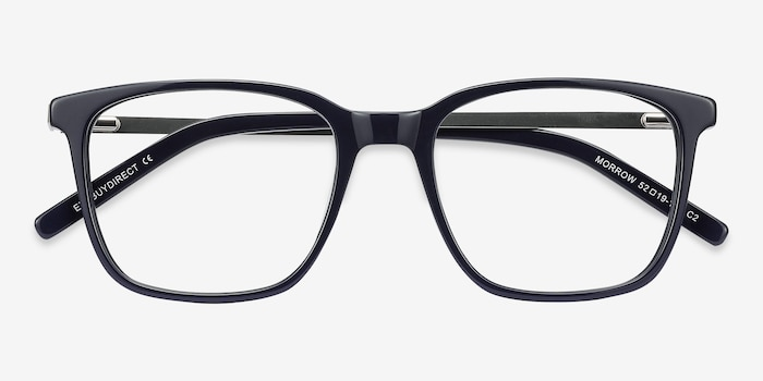 Morrow Navy Metal Eyeglass Frames from EyeBuyDirect, Closed View