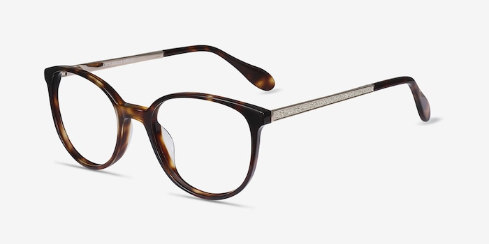 Lucy Tortoise Acetate Eyeglass Frames from EyeBuyDirect, Angle View