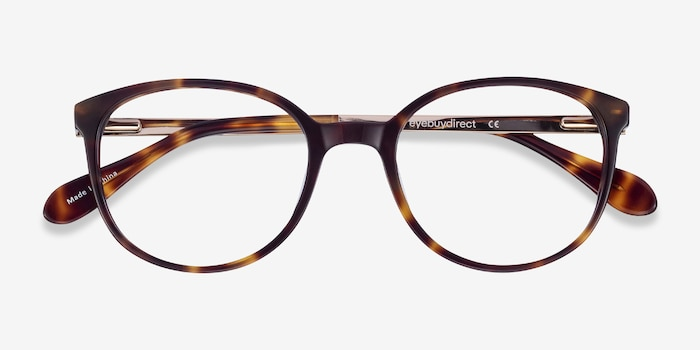 Lucy Tortoise Metal Eyeglass Frames from EyeBuyDirect, Closed View