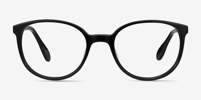 Lucy Black Acetate Eyeglass Frames from EyeBuyDirect, Front View