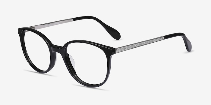 Lucy Black Acetate Eyeglass Frames from EyeBuyDirect, Angle View