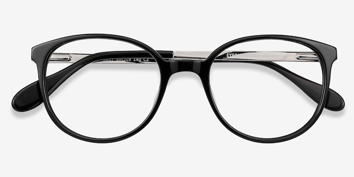 Lucy Black Acetate Eyeglass Frames from EyeBuyDirect, Closed View