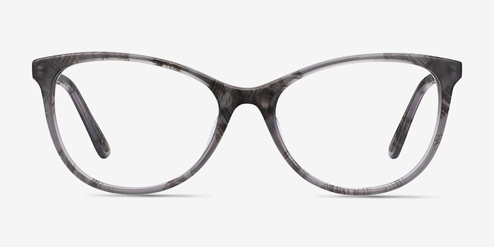 Cat's Meow Gray Floral Metal Eyeglass Frames from EyeBuyDirect, Front View