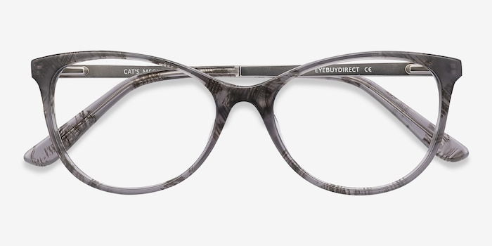 Cat's Meow Gray Floral Metal Eyeglass Frames from EyeBuyDirect, Closed View