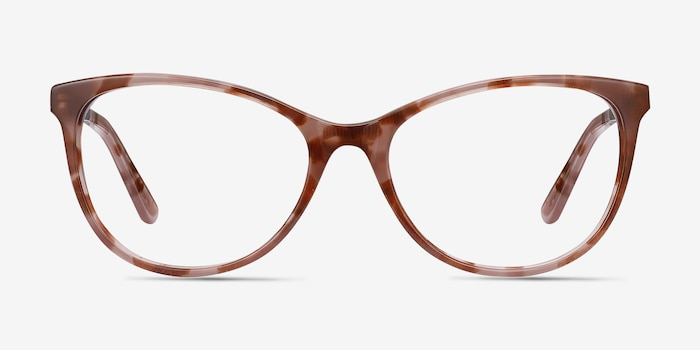 Cat's Meow Brown Floral Acetate Eyeglass Frames from EyeBuyDirect, Front View