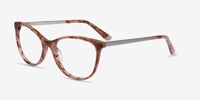 Cat's Meow Brown Floral Acetate Eyeglass Frames from EyeBuyDirect, Angle View