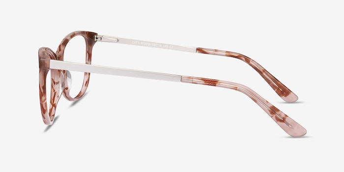 Cat's Meow Brown Floral Acetate-metal Eyeglass Frames from EyeBuyDirect, Side View