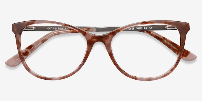 Cat's Meow Brown Floral Acetate-metal Eyeglass Frames from EyeBuyDirect, Closed View