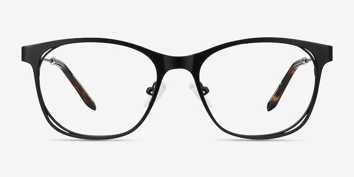 Nightfall Black Acetate Eyeglass Frames from EyeBuyDirect, Front View