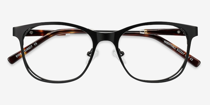 Nightfall Black Acetate Eyeglass Frames from EyeBuyDirect, Closed View