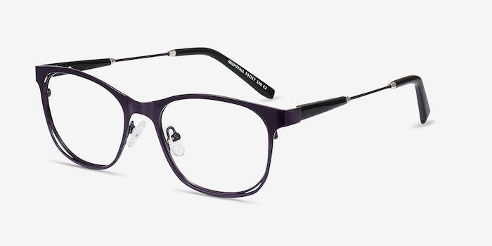 Nightfall Purple Acetate Eyeglass Frames from EyeBuyDirect, Angle View