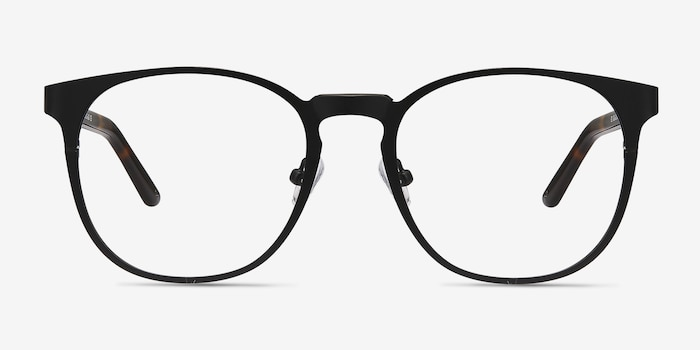 Resonance Black Metal Eyeglass Frames from EyeBuyDirect, Front View