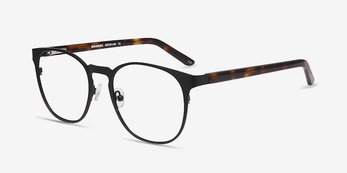 Resonance Black Metal Eyeglass Frames from EyeBuyDirect, Angle View