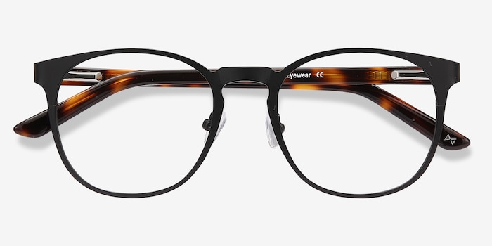 Resonance Black Metal Eyeglass Frames from EyeBuyDirect, Closed View