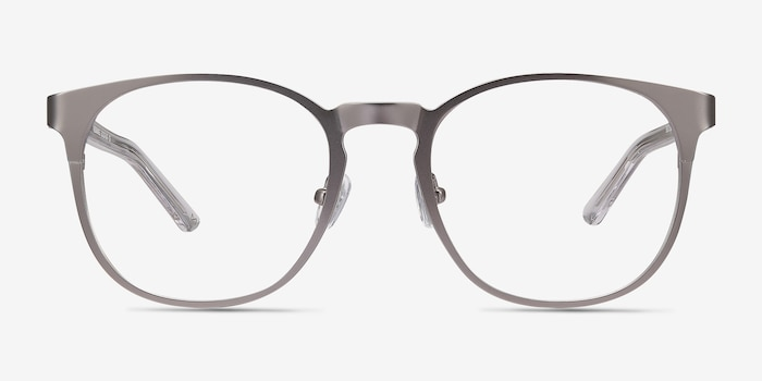 Resonance Gunmetal Acetate Eyeglass Frames from EyeBuyDirect, Front View