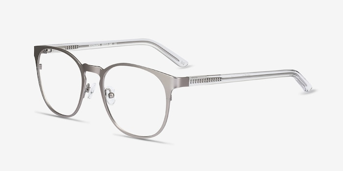 Resonance Gunmetal Acetate Eyeglass Frames from EyeBuyDirect, Angle View