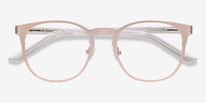 Resonance Rose Gold Acetate Eyeglass Frames from EyeBuyDirect, Closed View