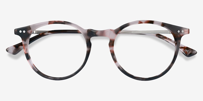 Luminous Pink Tortoise Acetate Eyeglass Frames from EyeBuyDirect, Closed View