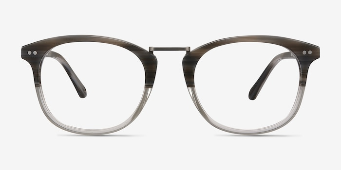Era Gray Striped Acetate Eyeglass Frames from EyeBuyDirect, Front View