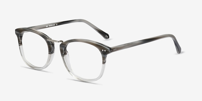 Era Gray Striped Metal Eyeglass Frames from EyeBuyDirect, Angle View