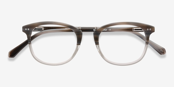 Era Gray Striped Metal Eyeglass Frames from EyeBuyDirect, Closed View