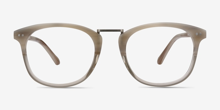 Era Gray Clear Acetate-metal Eyeglass Frames from EyeBuyDirect, Front View