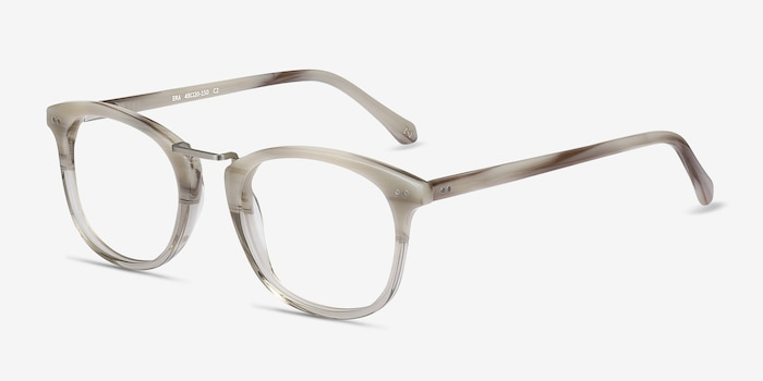Era Gray Clear Acetate-metal Eyeglass Frames from EyeBuyDirect, Angle View