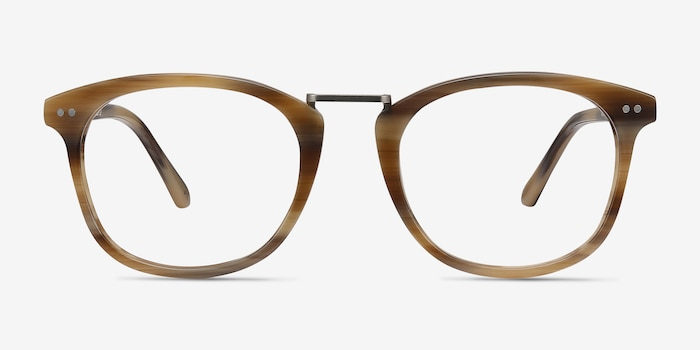 Era Brown Striped Acetate-metal Eyeglass Frames from EyeBuyDirect, Front View