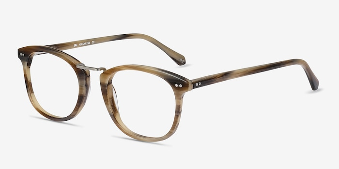 Era Brown Striped Metal Eyeglass Frames from EyeBuyDirect, Angle View