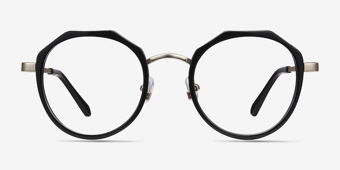 Accent Black Metal Eyeglass Frames from EyeBuyDirect, Front View