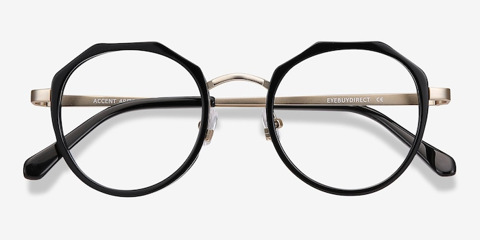 Accent Black Acetate Eyeglass Frames from EyeBuyDirect, Closed View