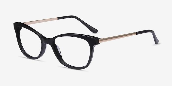 Ripple Black Acetate Eyeglass Frames from EyeBuyDirect, Angle View