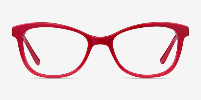Ripple Red Acetate Eyeglass Frames from EyeBuyDirect, Front View