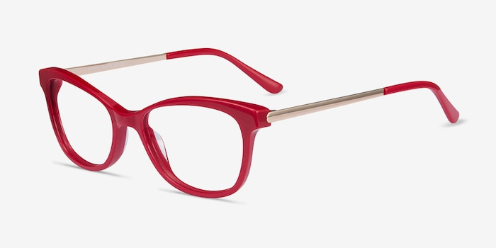 Ripple Red Metal Eyeglass Frames from EyeBuyDirect, Angle View