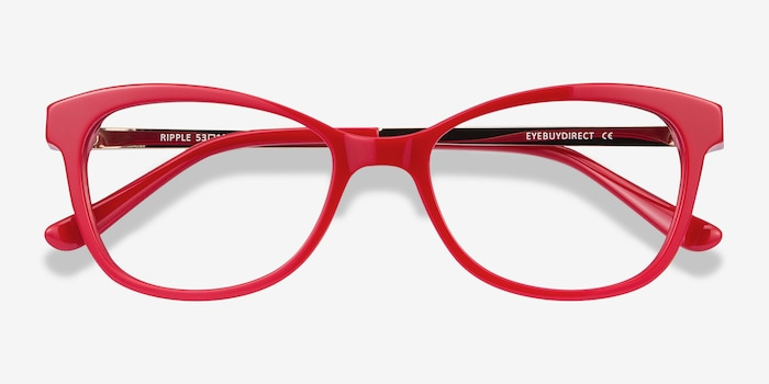 Ripple Red Acetate Eyeglass Frames from EyeBuyDirect, Closed View