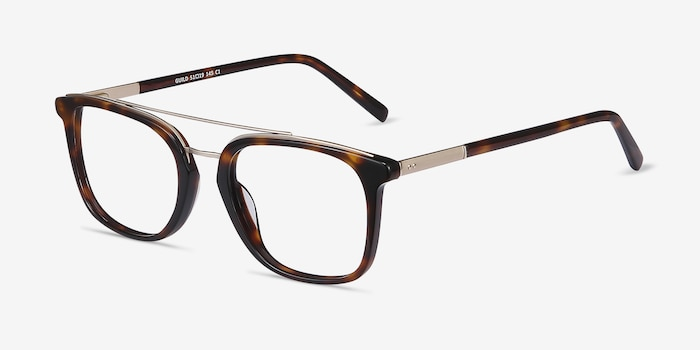 Guild Tortoise Metal Eyeglass Frames from EyeBuyDirect, Angle View