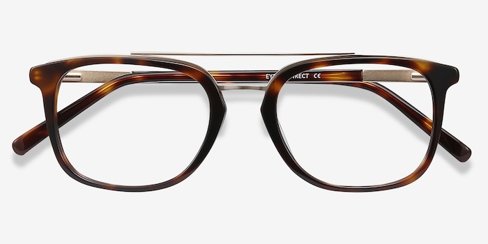 Guild Tortoise Metal Eyeglass Frames from EyeBuyDirect, Closed View