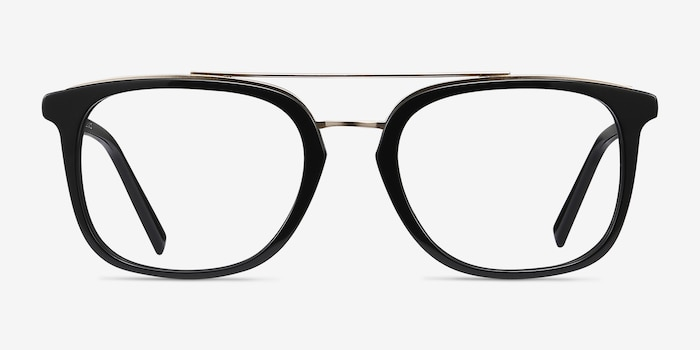 Guild Black Acetate Eyeglass Frames from EyeBuyDirect, Front View