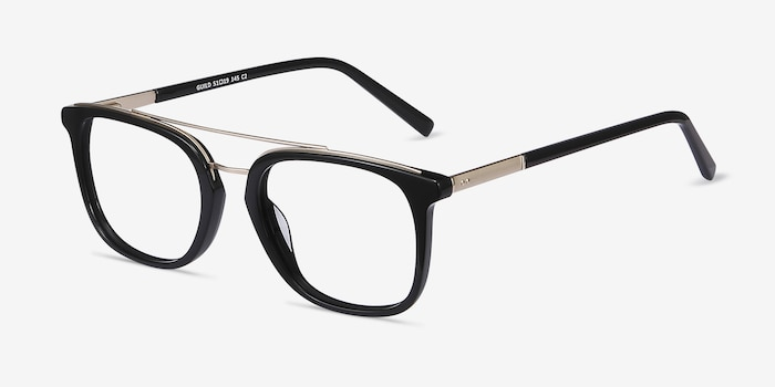 Guild Black Acetate Eyeglass Frames from EyeBuyDirect, Angle View