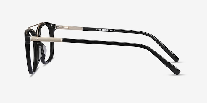 Guild Black Acetate Eyeglass Frames from EyeBuyDirect, Side View
