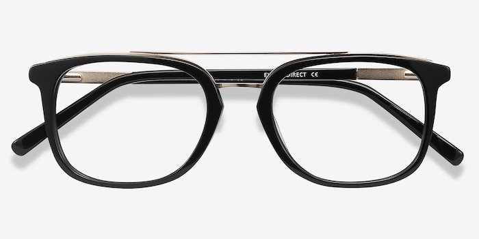 Guild Black Acetate Eyeglass Frames from EyeBuyDirect, Closed View