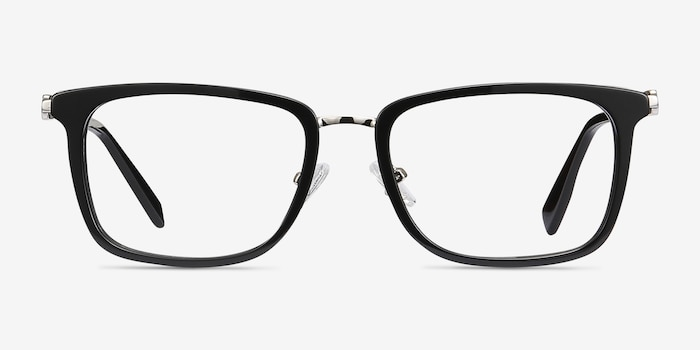Wayback Black Acetate Eyeglass Frames from EyeBuyDirect, Front View