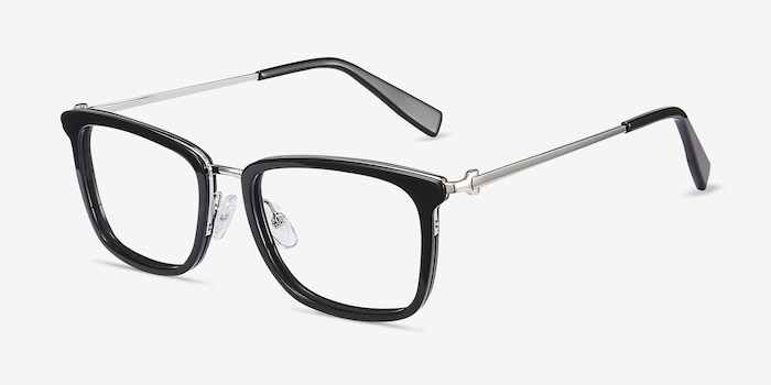 Wayback Black Acetate Eyeglass Frames from EyeBuyDirect, Angle View